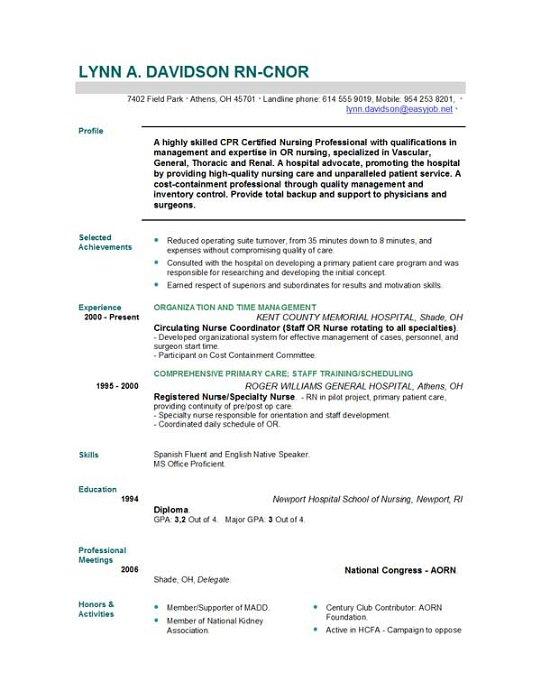 Registered Nurse Resume Objective Statement